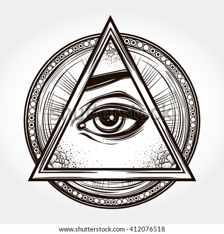 Hand-drawn Eye of Providence. All seeing eye pyramid symbol. New World Order.Freemason and spiritual, religion, spirituality,  alchemy, occultism, tattoo art. Isolated vector illustration.  - stock vector