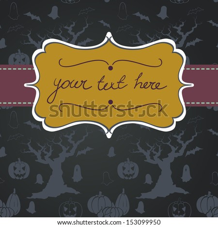 Hand drawn halloween invitation or greeting card template with cartoon spooky tree, ghost, bat, pumpkin and Jack-o'-lantern. Halloween seamless pattern on chalkboard background. - stock vector