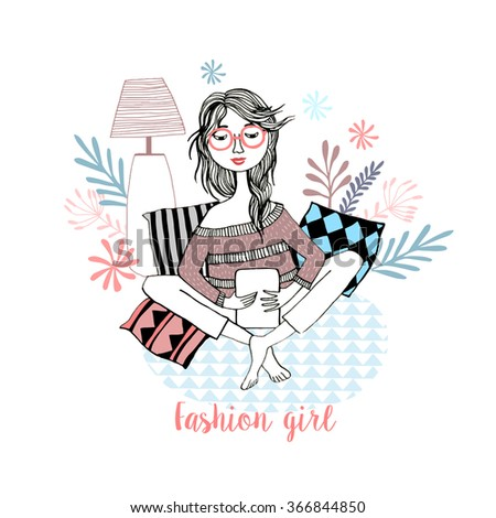 Hand drawn illustration of a young woman with book - stock vector