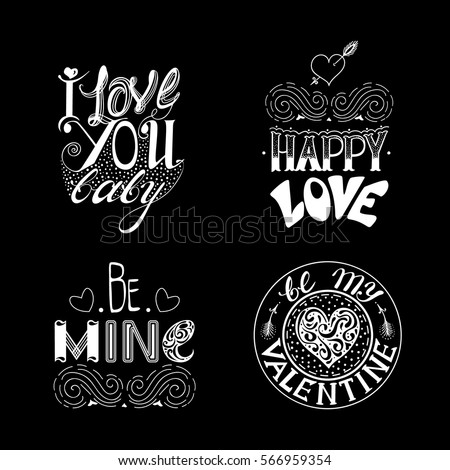 Hand drawn lettering set.  Creative typography for holiday greetings. Vector illustration.