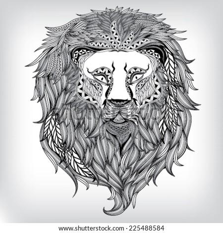 Hand Drawn Lion Illustration, Vector background EPS10 - stock vector