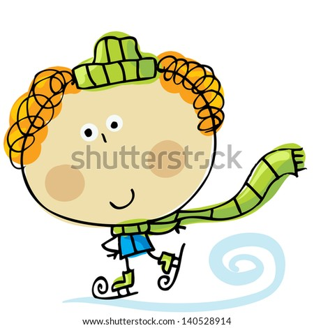 Hand-drawn little baby on the skates  - stock vector