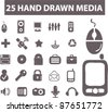 25 hand drawn media icons, signs, vector illustrations - stock vector