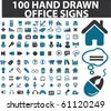 100 hand drawn office signs. vector - stock vector