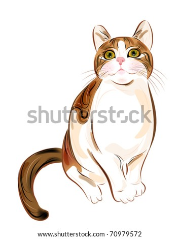 hand drawn portrait of  ginger tabby cat - stock vector