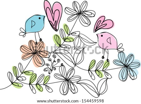 hand drawn retro flowers and birds - stock vector