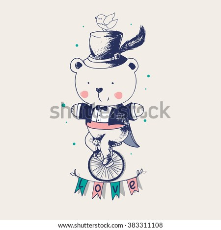 hand drawn vector illustration in vintage style.Baby Bear ridding on a bicycle. Bear gentleman/can be used as kids or baby's shirt design/textile/ fashion - stock vector