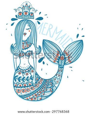 hand drawn vector mermaid with folk ornaments - stock vector
