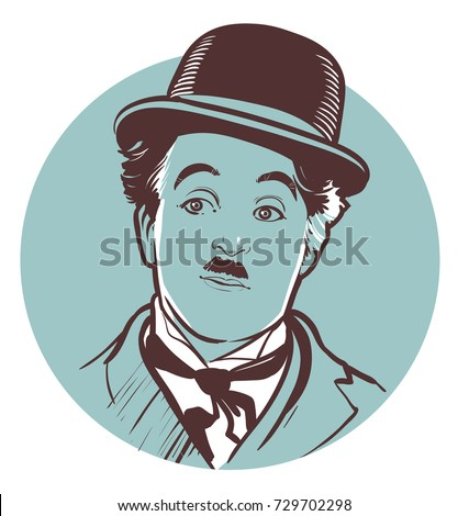 08.10.2017. Hand-drawn vector portrait of legendary comic Charlie Chaplin. .eps10, editorial use only