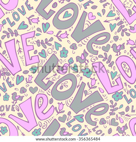hand drawn word love and cute doodles seamless vector illustration
