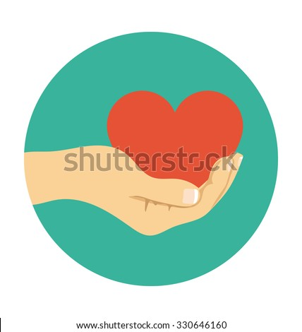 Hand Giving Heart Colored Vector Illustration  - stock vector
