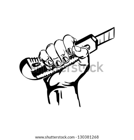 hand holding construction knife vector black hand draw illustration