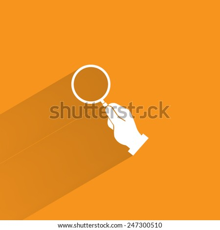 hand holding magnifier glass  - stock vector