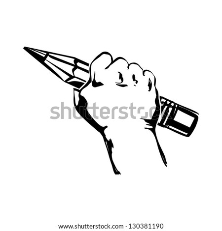 hand holding pencil vector black illustration
