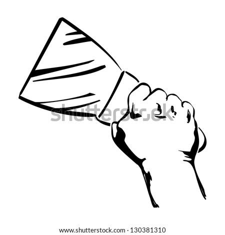 hand holding spatula vector black hand draw illustration - stock vector