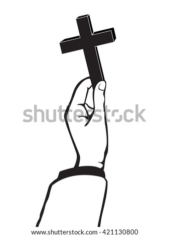 hand holding the Cross of Christianity vector - stock vector