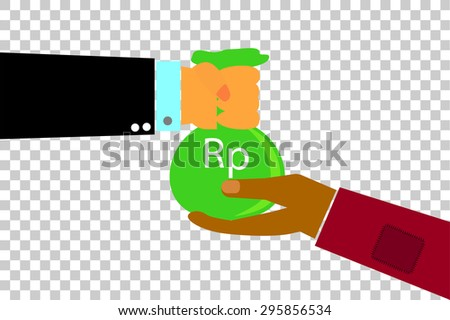 Hand - Rich Man Hand Give a Sack of Money to Poor Man Hand - Rupiah (at transparent effect background) - stock vector