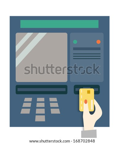 Hand with a credit card.  ATM  - stock vector