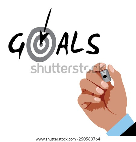 Hand writing Goals with black marker  - stock vector