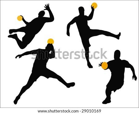 handball player silhouettes - stock vector
