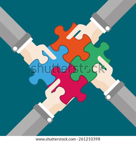4 hands with 4 puzzle pieces. Eps 10 vector file. - stock vector