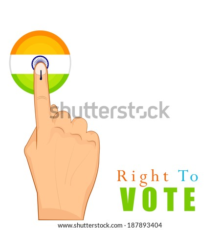 hands with voting sign of India with tri color flag button - stock vector