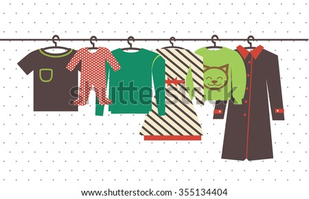 Hanger with clothes. Clothing icons. Shopping elements. Flat design vector - stock vector