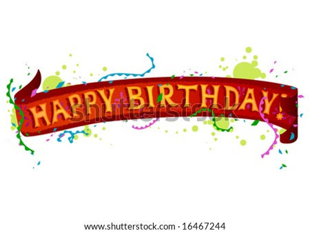 """Happy Birthday"" Banner - stock vector"