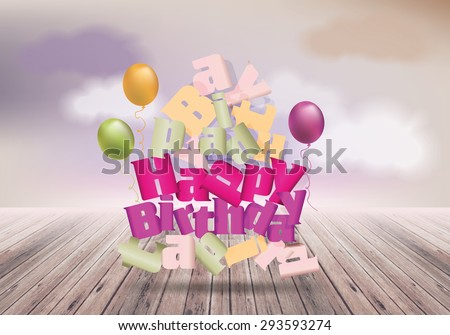 Happy birthday design template on  background with clouds. Broken text - stock vector