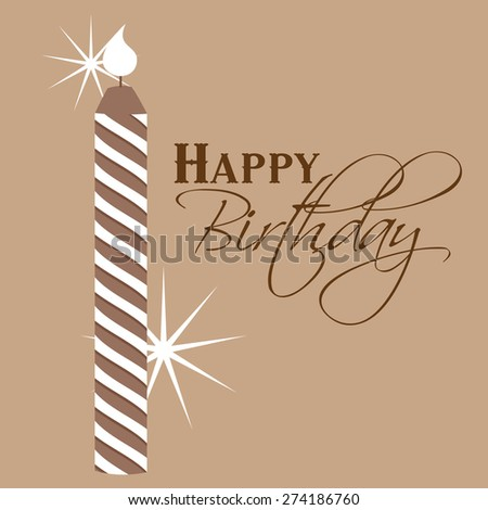 'happy birthday' hand lettering - handmade calligraphy with candle vector - stock vector