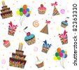 Happy birthday seamless background pattern in vector - stock vector