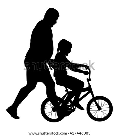 Happy caring father teaching his small young pretty daughter riding a bicycle vector silhouette illustration isolated on white background. Dad teaches his daughter to ride a bike. Fathers day.