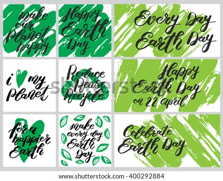 """Happy Earth Day"" handwritten lettering. Vector collection with hand drawn decorations."