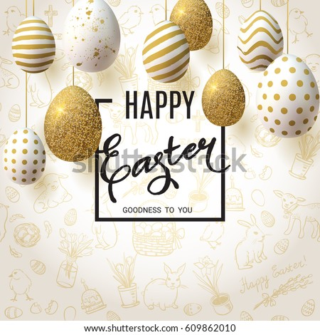 Happy Easter background with realistic golden decorated eggs and cute doodles. Greeting card trendy design. Invitation template Vector illustration for you poster or flyer.