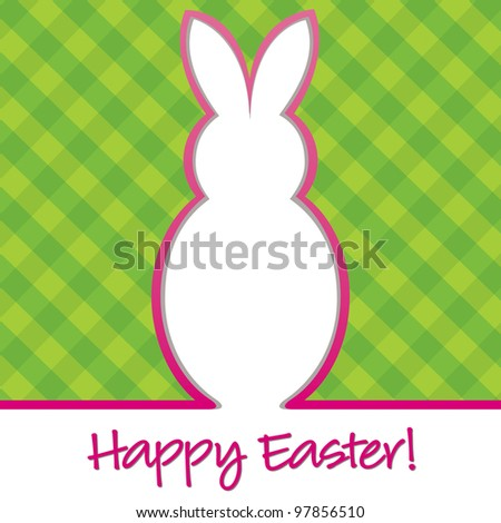 """""""Happy Easter"""" bright bunny cut out card in vector format. - stock vector"""
