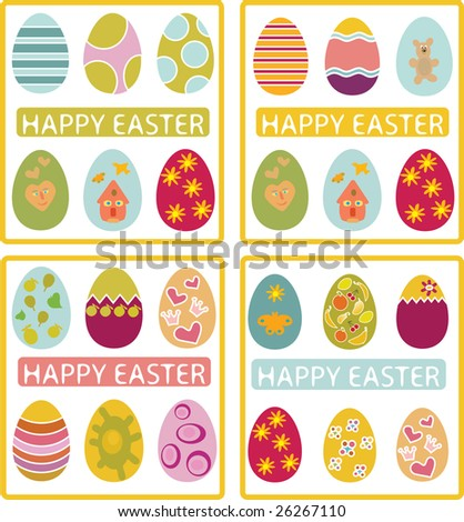 4 happy easter cards - vector eggs set part 4