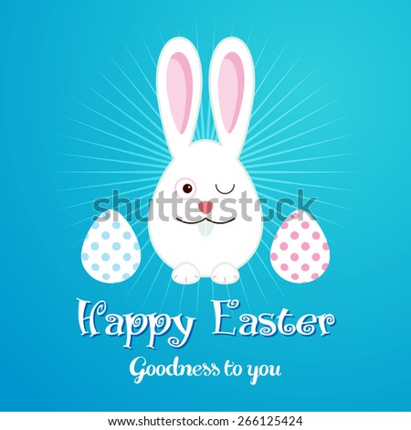 Happy Easter greeting card with flowers eggs and Bunny - stock vector