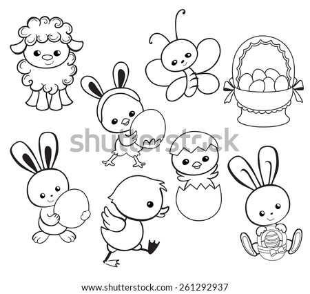 Coloring Page Happy Easter Holiday Illustration With Cute Chicken Bunny Duck Lamb Cartoon Characters