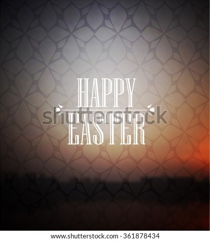 Happy easter lettering on blurred background - stock vector