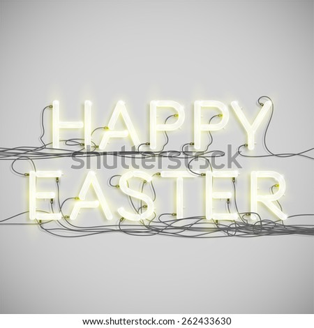 'HAPPY EASTER' made by neon font, vector - stock vector
