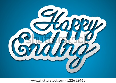 'happy ending' handmade calligraphy, vector EPS10 - stock vector