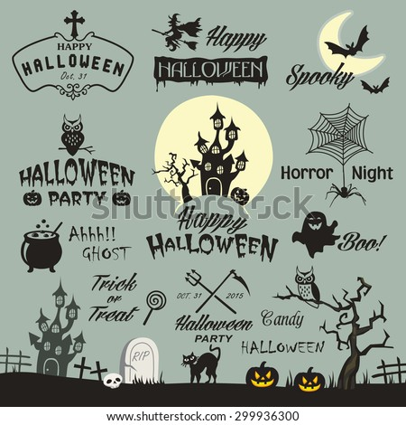 Happy Halloween design elements. Halloween design elements, logos, badges, labels, icons and objects. - stock vector
