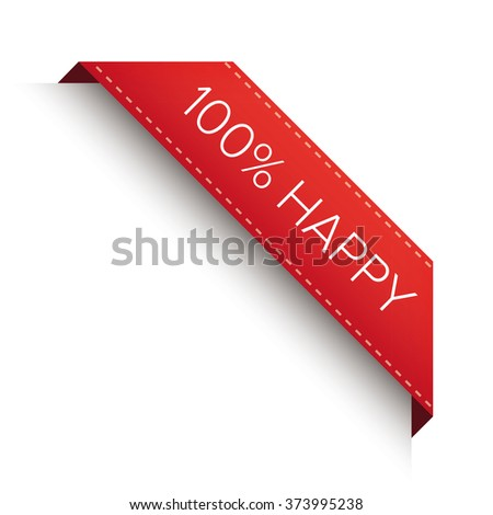 100% happy label sign - stock vector
