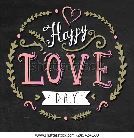 'happy love day' hand lettering - stock vector