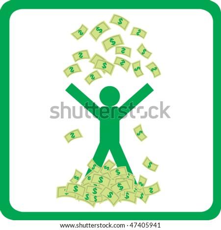 Happy man with money - stock vector