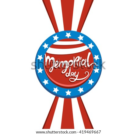 Happy Memorial day lettering. Happy Memorial day vector card. Happy Memorial day vector typography.. Memorial day text card with stars and stripes. Memorial day poster