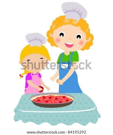 Happy mother with her daughter cooking in the kitchen - stock vector