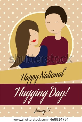 'Happy National Hugging Day' Card in Vintage Style. Hugging Couple, Polka Dot Pattern.