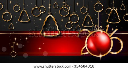 2016 Happy New Year and Merry Christmas Background for Seasonal Greetings Cards, Parties Flyer, Dinner Event Invitations, Xmas Cards and sp on. - stock vector