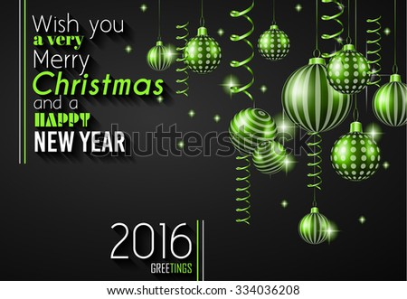 2016 Happy New Year and Merry Christmas Background for your christmas menù, seasonal wallpapers, greetings card, dinner invitations, pary flyers, covers and so on. - stock vector